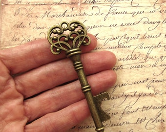 "Skeleton Key BOTTLE OPENERS – Set of 50 – Antique Bronze – 3"" Long (76mm) –Vintage Style - Create Your Own Wedding Favors! Ships from USA."