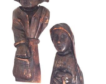 Vintage Folk Art  Wood Figurines