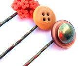 Orange bobby pins, orange hair pins, cream - button pins, vintage buttons, metal, rust - orange flower, coral