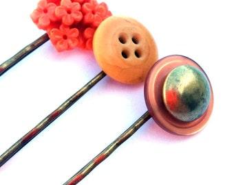 Orange bobby pins, orange hair pins, cream - button pins, vintage buttons, metal, rust - orange flower, coral