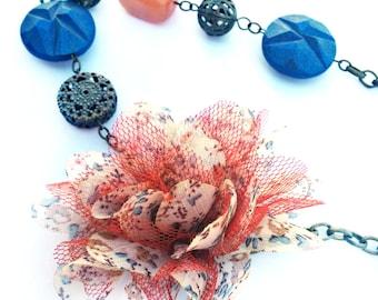 Flower necklace, blue, brass, amber quartz, cloth, fabric flower, Orange, floral, cream flower, tulle flower, Fabric necklace, Fabric flower