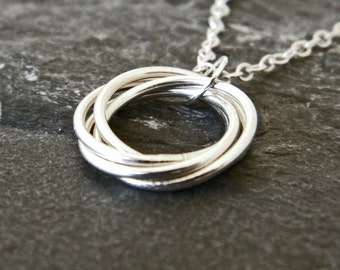 Intertwined Rings Necklace - 3 Friends Necklace - 3 Sisters Necklace - Mothers Jewelry - Bridesmaid Gifts - Infinity Circle - 1 - 5 circles
