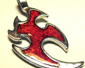 Silvertone Tribal Flame Tattoo Pendant - Red Enameling