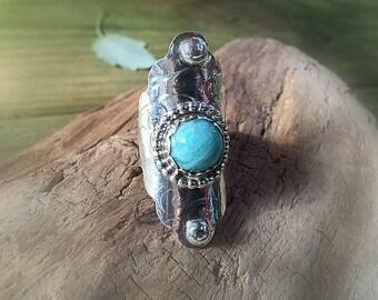Amazonite Sterling Silver Boho Saddle Ring
