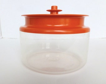 Tupperware Counterparts Canister Clear Acrylic with Orange Push Button Top 6 1/4 cups 1.5 litres Model 1481