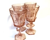 Vintage Fostoria Virginia Peach Heavy Pressed Glass Wine Glasses Wine Goblets