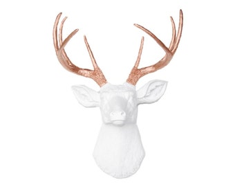 Deer Head Wall Mount - White with Rose Gold Antlers - Deer Head Antlers Faux Taxidermy D0111
