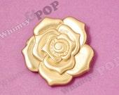 Large Boho Style Gold Tone Rose Flower Beads, Flower Shaped, Flower Beads, 55mm (C2-12)