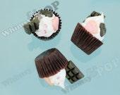 1 - Large Pink Chocolate Cupcake Candy Crystal Rhinestone Kawaii Foodie Charms, Cupcake Charm, Cupcake Pendant, 51mm x 45mm x 35mm (R8-063)