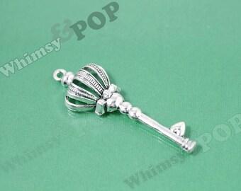 Bright Silver Tone Scepter Crown Skeleton Key Pendant Style Tibetan Silver Charm, 57mm x 19mm (1-4D)