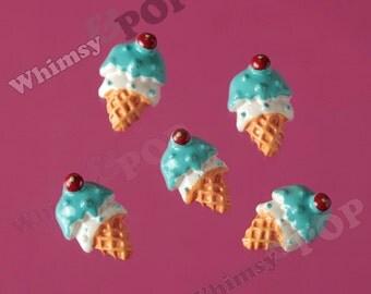 5 - Kawaii Foodie Blue Cherry on Top Sprinkles Ice Cream Cone Cabochon, Ice Cream Cone Cabochon, Ice Cream Cabochon, 13mm x 20mm (R7-134)