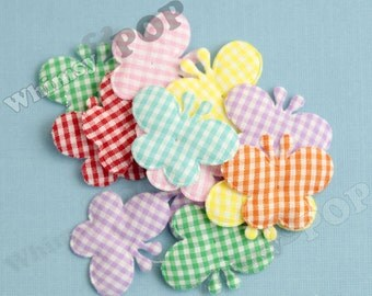 20 - CLEARANCE SALE Gingham Plaid Butterfly Rainbow Selection Appliques - Sew On Fabric ...