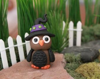 Polymer Clay Owl - Miniature Owl -  Halloween Owl - Witch Owl - Terrarium Accessory - Fairy Garden - Miniature Garden - Gnome Garden