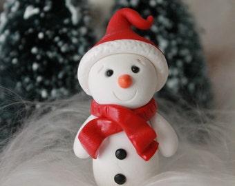 Miniature Snowman - Polymer Clay Snowman - Clay Snowman - Christmas Decor - Miniature Garden - Fairy Garden