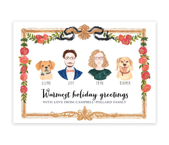 Custom Illustrated Christmas Card Family Portrait By