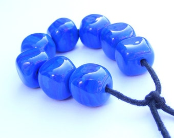 Blue and green striations lampwork bead set - 8 curvy cube cobalt lampwork beads