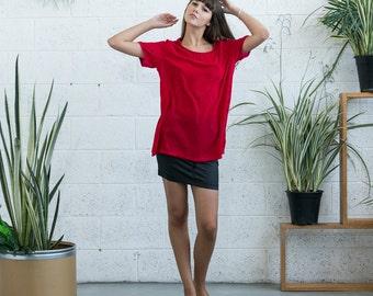 Velvet Top, fuchsia velvet shirt , short sleeve velvet shirt.