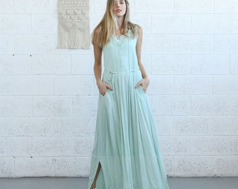 SALE  50 Off Mint Maxi Pleated Dress, Casual Maxi Dress.