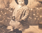 Antique Real Photo Postcard. The Little Gentleman. Edwardian Boy w/ Spats, Equestrian Riding Crop. Sepia Photograph, 1910s Paper Ephemra.