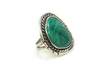 Huge Sterling Silver & Malachite Ring. Navajo, Native American. Signed MS. Vintage 1970s Gemstone Jewelry. Size 8.75, Unisex Statement