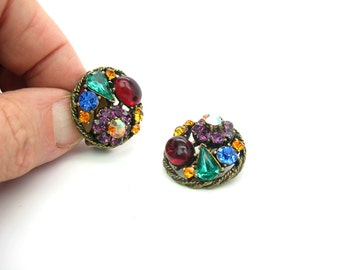 Weiss Earrings. Multi Color Jewel Tones. Rhinestone Jewelry. Ruby Red Cabochon. Clip On Earrings. Older Weiss Mark. Vintage 1950s Jewelry.