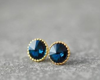 Navy Blue Earrings Organic Edge Swarovski Crystal Blue Bridesmaid Nautical Wedding Navy Bride Something Blue Earring Stud Earrings Mashugana