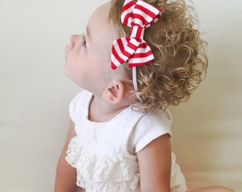 Red White Striped Bow Headband - Red White Striped Folded Sailor Bow Baby Headband or Clip - Red White Baby Headband - Striped Sailor Bow