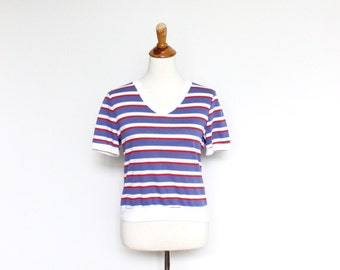 Womens Striped V Neck Shirt Small Vintage Short Sleeve Multi Color Block Ringer Russ Union Made USA
