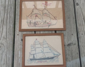 Set of Two Hand Stitched Ship Embroidered Wall Hangings