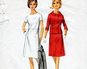1960s A-Line Dress & Jacket Pattern Butterick 4059 Vintage Sewing Pattern Knee Length Dress and Fitted Jacket Bust 36