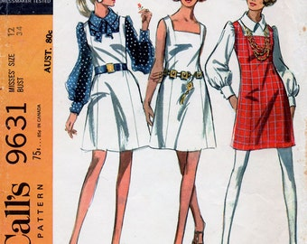 1960s Mod Dress, Jumper & Blouse Pattern McCall's 9631 Mini Pinafore or Sun Dress Vintage Sewing Pattern Bust 34
