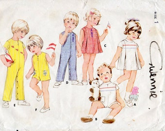 1960s Toddlers Playsuit Overall and Dress with Inverted Pleats Pattern Butterick 5757 Child's Vintage Sewing Pattern Size 1 Year