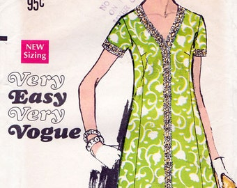 1960s Cocktail Dress Pattern Very Easy Vogue 7563 Vintage Sewing Pattern Half Size A Line Dress with V Neckline Bust 37 FF