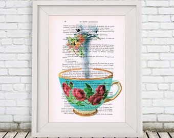 Ostrich Print, ostrich in teacup, Digital Illustration, ostrich Art, teacup Poster, ostrich with flowers, teacup art, Alice in Wonderland