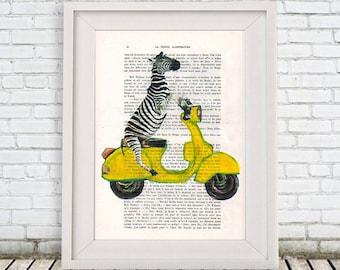 Zebra print Drawing Illustration animal painting portrait painting Posters Mixed Media Art Acrylic Painting: Zebra on yellow Vespa
