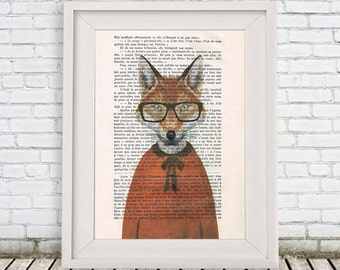 Clever Fox print in orange shirt, animal and spectacles, nerdy fox, christmas gift, fox illustration, coco de paris, animal portrait