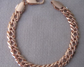 "Rose Gold Rombo Venetian Linked  8-1/2"" Bracelet"