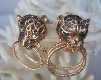 Rose Gold Leopard Head in Modified Door Knocker Earrings