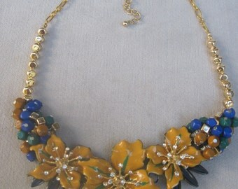 Rich Tones of Enameled Yellow Flowers with Beads in Green and Blue Necklace
