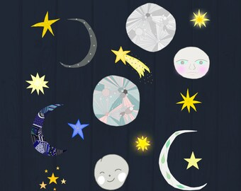 To the Moon Cliparts, Cute Moon and Stars Digital Images, Moon Clipart, Stars Clipart, Cute Space Digital Images + 2 digital papers