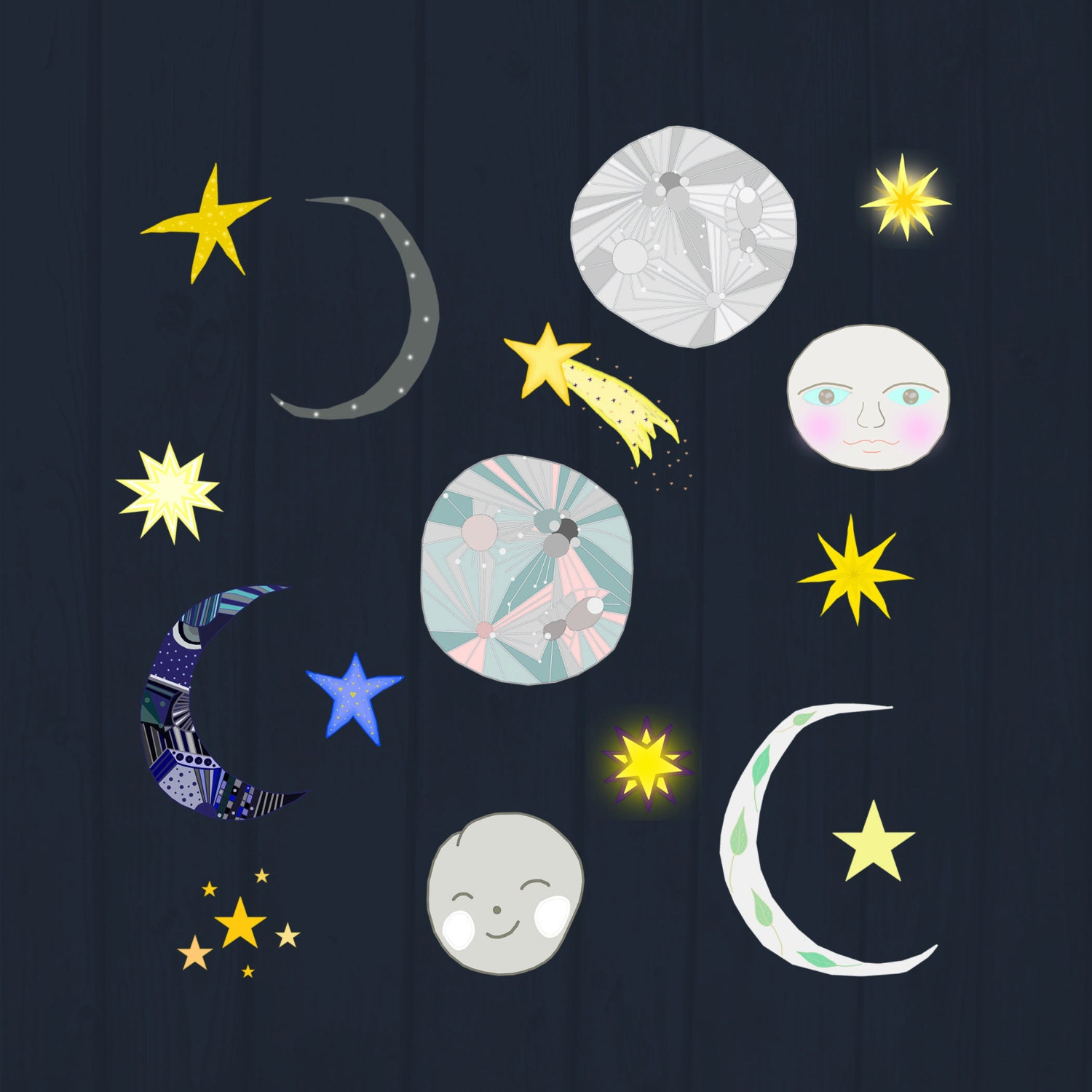 To the Moon Cliparts, Cute Moon and Stars Digital Images ...
