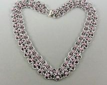 Chainmaille Necklace, Rondo a la Byzantine Necklace, Pink Chainmail Necklace, Chain Mail Jewelry