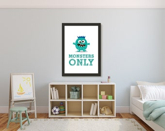 Monster Kid Art Print, Monsters Only, Nursery Kids Wall Art Room Decor Baby Shower Gift