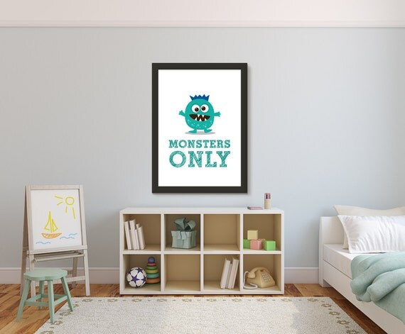 Monster Kid Art Print, Monsters Only, Nursery Kids Wall Art Room Decor Baby Shower Gift