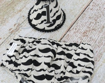 Boys First Birthday Outfit Cake Smash Diaper Cover & Party Hat in Cream and Black Mustache Print