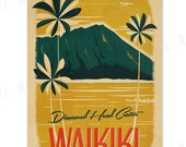 Diamond Head Crater - 12x18 Retro Hawaii Print