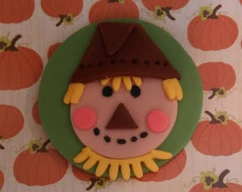 Fondant Scarecrow - Edible Cake and Cupcake Toppers - Set of 12