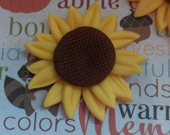Fondant Sunflowers - Edible Cake and Cupcake Toppers - Set of 12