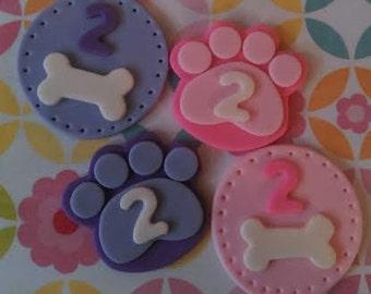 Fondant Dog Bones and Paw Prints - Edible Cake and Cupcake Toppers - Set of 12