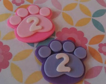 Fondant  Paw Prints - Edible Cake and Cupcake Toppers - Set of 12